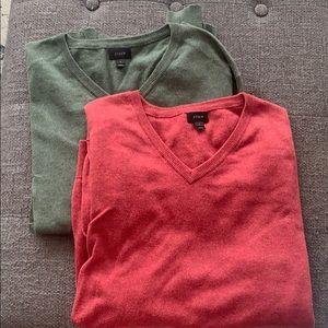 J. Crew Cotton Cashmere V Neck Sweater TWO Sz L